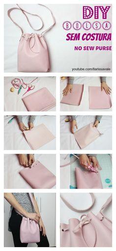 Como Fazer Bolsa Saco (Bucket Bag) Sem Costura - Diy And Crafts Pochette Diy, Diy Handbag, Diy Couture, Creation Couture, Handmade Bags, Bag Making, Diy Tutorial, Purse Tutorial, Purses And Bags