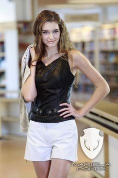 Casual Collection by Mariela Pokka fashion made of reindeer leather.  Black leather top and white leather shorts