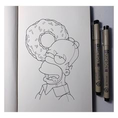 Ideen Fürs Zeichnen - DAY I d'ohnut know what to draw for these prompts anymore 😬🍩 Swipe to. Cool Art Drawings, Pencil Art Drawings, Art Drawings Sketches, Disney Drawings, Simpsons Drawings, Simpsons Art, Cartoon Drawings, Mini Canvas Art, Art Sketchbook
