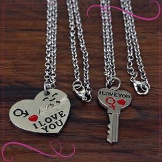Matching necklaces for boyfriend and girlfriend. It should be the best surprising gift for lovely person. Boyfriend Necklace, Dog Tag Necklace, Washer Necklace, Fashion Necklace, Fashion Jewellery, Matching Necklaces, Surprise Gifts, Bling, Pendant