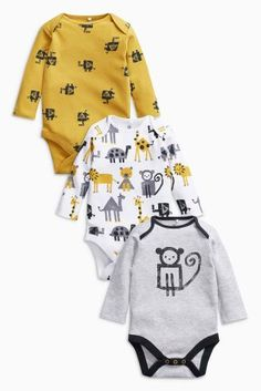 Buy Grey/Mustard Monkey Long Sleeve Bodysuits Three Pack from the Next UK online shop Baby Outfits, Vest Outfits, Baby Boy Fashion, Kids Fashion, Cool Baby Clothes, Baby Box, Long Sleeve Bodysuit, Kind Mode, Baby Bodysuit