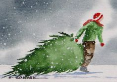 Evergreen Tree watercolor painting.... $16.00, via Etsy.