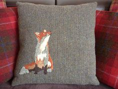 Harris Tweed Cushion with Patchwork Fox Embroidery by TallaTweed on Etsy