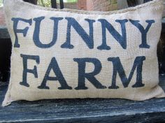 Checkout this amazing product Charley Burlap Pillow - Funny Farm at Shopintoit