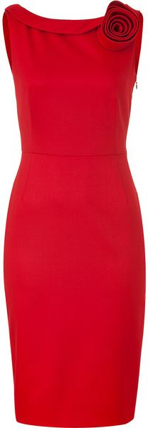Crimson Red Classic Dress with Rose