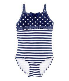 Little Girl's Striped Swimsuit