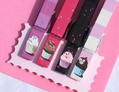 CUPCAKE CLOTHESPINS pink black hand painted by SugarAndPaint, $10.00