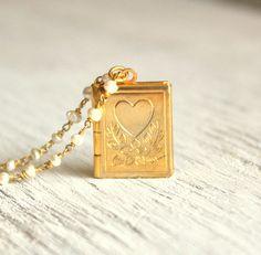 Gold Locket Book Necklace Vintage Locket Long Pearl by ViaLove