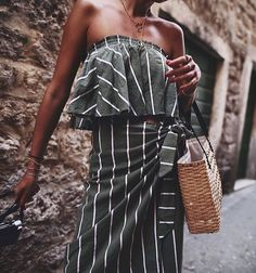 olive green and white striped sleeveless maxi dress.