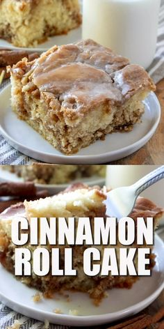 This Homemade Cinnamon Roll Cake dessert has all the flavor of a cinnamon roll but in an easy cake with a vanilla icing drizzled on top! The post HOMEMADE CINNAMON ROLL CAKE appeared first on Win Dessert. Smores Dessert, Bon Dessert, Dessert Dips, Breakfast Dessert, Good Breakfast Ideas, Breakfast Bread Recipes, Dessert Pizza, Breakfast Pastries, Homemade Breakfast