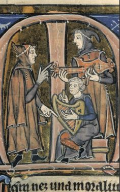 Citole and harp from the School of Mont-Saint-Michel, ms 222 Bibliothèque d'Avranches. 13th Century.