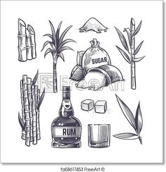 Buy Hand Drawn Cane Leaves Sugar and Plant Stalks by MicrovOne on GraphicRiver. Hand drawn cane leaves, sugar plant stalks, sugarcane farm harvest, glass and bottle of rum. Vector set in vintage en. Pirate Map Tattoo, Sugar Cane Plant, Bottle Drawing, Rum Bottle, Bottle Tattoo, Glass Engraving, Free Art Prints, Nature Drawing, Plant Illustration