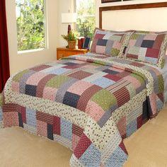 Trademark Lavish Home Savannah 3-piece Quilt Set (Queen), Multi, Size Full (Cotton, Patchwork)