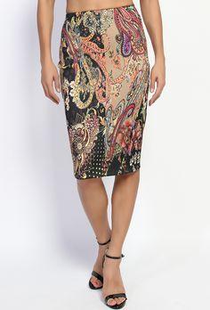 $20.00 - Paisley Print High Waist Pencil Midi Skirt