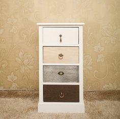 Commode table de chevet de nuit blanc shabby REBECCA WILD WOOD en bois 4 tiroirs différent coloré et poignées vintage (Cod. RE4310)