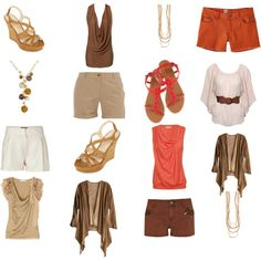 """Summer Wardrobe Capsule Creams, Browns and Orange"" by bec-robbie on Polyvore  change shorts to capris"
