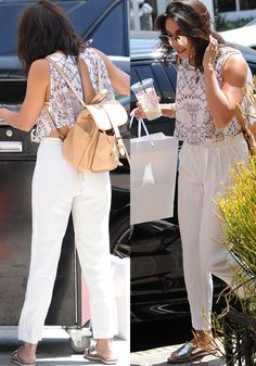 Vanessa Hudgens waits for her car after some shopping in Los Angeles on July 8, 2016