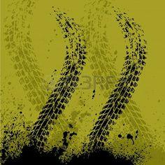 trace de pneu de vélo sur fond vert