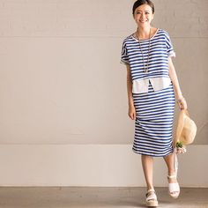 Stripe women dress two pc fitting fashion clothes