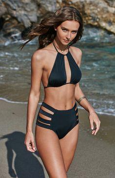 dbe100388aeb5 Cutout Halter Bikini Top Swimsuits For Small Bust