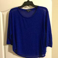 NWOT Forever 21 Royal Blue lightweight sweater szS NWOT 3/4 length sleeve, lightweight Royal blue, scoop neck, rounded hem sweater/top Forever 21 Tops