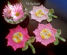 PINK ROSE CROCHET: Pink Flowers Rococo