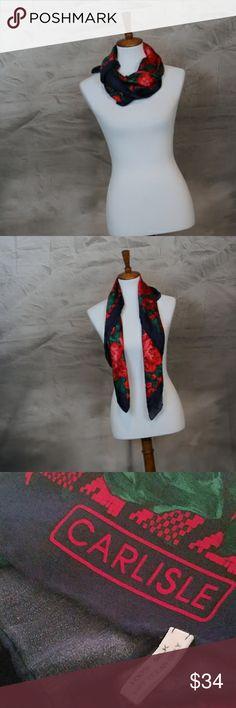 Carlise 100% silk rose floral fashion scarf Carlise 100% silk rose floral fashion scarf. Excellent condition. Carlisle Accessories Scarves & Wraps