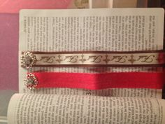 Bible Bookmarks that I made from burlap , Ribbon , and Jewels