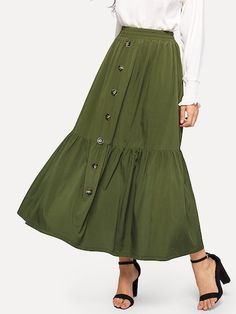 To find out about the Button Up Ruffle Hem Skirt at SHEIN, part of our latest Skirts ready to shop online today! Skirt Outfits Modest, Dress Skirt, Midi Skirt, Ruffle Skirt, Denim Skirt, Ladies Dress Design, Skirt Fashion, Fashion Outfits, Fashion News
