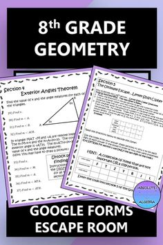 Engage your 7th or 8th grade students with this NO PREP multi-step Geometry escape room. This fun and challenging worksheet alternative uses Google Forms to practice solving parallel lines with transversals, the triangle angle-sum theorem, and the exterior angle theorem. Give it a try and see how engaged both you and your students will be! #Google Forms #angle-sum theorem #exterior angle theorem #escape room #equations #parallel lines #transversals #triangle measures Math Activities, Teaching Resources, Middle School, High School, Secondary Math, Algebra 1, Math Stations, Escape Room, Word Problems