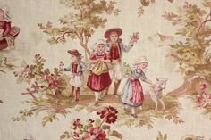 Classic antique French printed toile fabric ~ LOVELY sweet design ~ Classic French country ~ www.textiletrunk.com