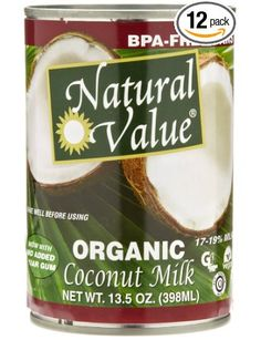 Natural Value Organic Coconut Milk, BPA free