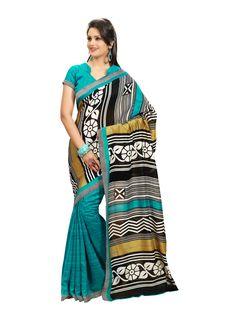 Sea Blue with black and gray Printed #bhagalpurisilksaree