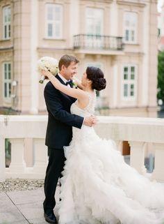 Gorgeous ruffled tulle wedding dress train: http://www.stylemepretty.com/destination-weddings/2016/02/10/royal-purple-old-world-wedding-in-slovakia/ | Photography: Peter & Veronika - http://peterandveronika.com/language/en/