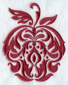 Stitch a classic damask apple design. Embroidery Library ...free in October...