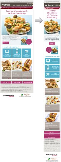 Responsive Email Design from Waitrose Html Email Design, Email Newsletter Design, Email Newsletters, Responsive Email, Mobile Responsive, Web Design, Design Layouts, Supermarket App, Email Layout