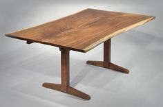 USA George Nakashima American black walnut trestle dining table with leaves and book matched top with two free sap edges 1956 w72d43 (+ 2 16 in leaves)