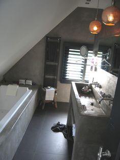 Inspiratie beel tadelakt badkamer Interesse in tadelakt , leem, betonstuc, mortex, betoncire afwerking voor vloeren, meubels of wanden? www.betonlookdesign of www.molitli-inter... specialist op dat gebied !!