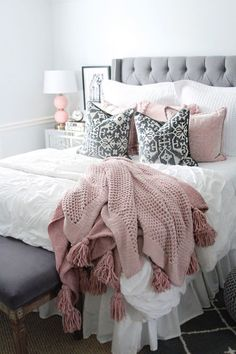 pink and grey bedding rachel puccetti. I am so excited to finally share my room reveal with you all! It has been one of my most requested posts! I hope this gives you a little room inspiration! Pink And Grey Bedding, Pink And Grey Room, Pink Gray Bedroom, Grey Bedroom Decor, Bedroom Ideas, Master Bedroom, Modern Bedroom, Contemporary Bedroom, Rose Bedroom