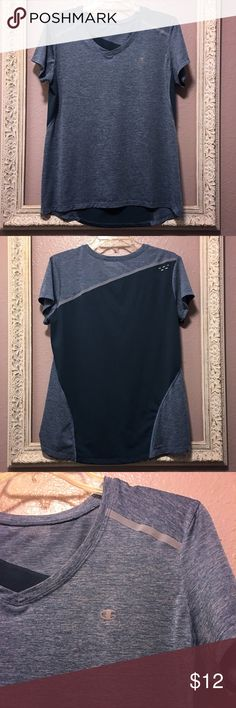 Women's Champion Blue Vapor Tee Women's Champion Blue Vapor Tee. Size L. Like New Condition. ** Tags have been cut out though! 100% polyester. Reflective details front & back for visibility, droptail hem keeps you covered, meshed back inset cools too hot zones, vaper tech wicks sweat & dries quickly. No rips, stains or holes. Smoke free home. Champion Tops Tees - Short Sleeve
