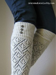 LouLou  Natural Openwork Leg warmers with Rubbed by GraceandLaceCo, $29.00