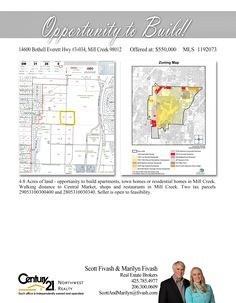 #NEWLISTING  4.8 Acres of land - opportunity to build apartments, town homes or residential homes in Mill Creek. Walking distance to Central Market, shops and restaurants in Mill Creek. Two tax parcels 29053100300400 and 2805310030340. Seller is open to feasibility.  Contact Scott Fivash & Marilyn McGlynn Fivash MLS # 1192073 http://14600bothelleveretthwy3034.c21.com/