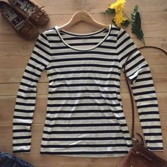 Ann Taylor LOFT Top  Navy and white long sleeve striped crewneck shirt.  60% cotton and 40% modal. In excellent condition. LOFT Tops