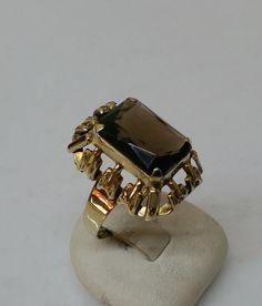 Vintage Ringe - Ring Gold 333 Besatz Rauchquarz 60er Jahre GR171 - ein…