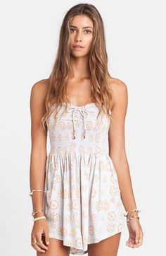 Billabong 'You Had Me' Print Smocked Romper (Juniors) available at #Nordstrom