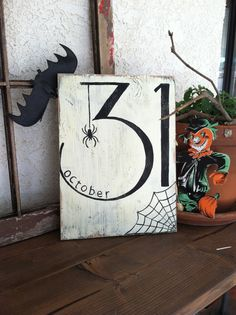 October 31 - Halloween - Hand Painted Wooden Sign - Spider and Web / black and…