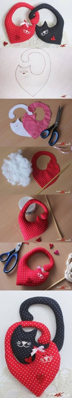 Cats Toys Ideas - DIY heart cats - Ideal toys for small cats Easter Crafts, Felt Crafts, Fabric Crafts, Sewing Toys, Sewing Crafts, Sewing Projects, Diy Projects, Valentines Bricolage, Valentines Diy