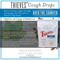 Thieves Cough Drops are formulated to help soothe sore throats, relieve coughs, and cool nasal passages. www.EssentialOils4Sale.com