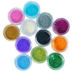 12 Colors Acrylic Nail Art Tips Glitter Powder Dust
