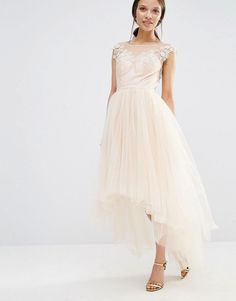 Image 2 of Chi Chi London Petite Lace Scallop Back High Low Midi Dress With Tulle Skirt